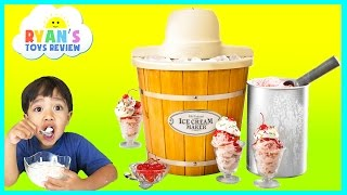 getlinkyoutube.com-ICE CREAM MAKER Machine! Makes REAL YUMMY ICE CREAM treats with Ryan ToysReview and Spiderman toy