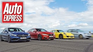 getlinkyoutube.com-Mercedes C63 AMG S vs BMW M4 vs Porsche 911 C4 GTS - Launch control drag race