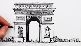 getlinkyoutube.com-How to Draw The Arc de Triomphe: Step by Step