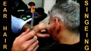 getlinkyoutube.com-✄ Removing Ear Hair with Fire - Traditional Turkish Singeing