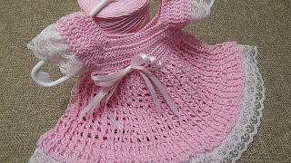 getlinkyoutube.com-Vestido 0 meses Encaje Crochet