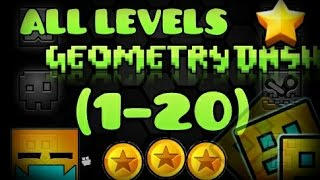 getlinkyoutube.com-All levels Geometry Dash 1-20 [100%] [All Coins]