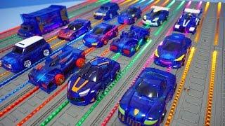 getlinkyoutube.com-터닝메카드 블루 자동차 12대 총출동 나백작 에반 타돌 슈마 외 파워레인저 레인보우라인 배경 TurningMecard Car Toys
