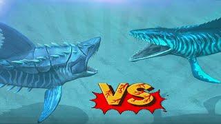 getlinkyoutube.com-Megalodon Vs Mosasaurus - Biggest Sharks Battles | Jurassic World The Game