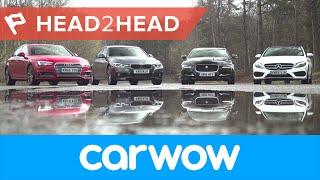 getlinkyoutube.com-Audi A4 vs Mercedes C-Class vs BMW 3 Series vs Jaguar XE Saloons 2017 review | Head2Head