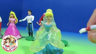 getlinkyoutube.com-New MAGICLIP Slime Gak Play Doh Disney Princess CInderella, Ariel, Rapunzel, Aurora with Prince Char