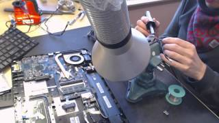 getlinkyoutube.com-Toshiba L875 L875-s7110 Laptop Power Jack Repair pushed in pin socket port repair