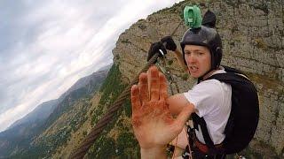 getlinkyoutube.com-Friday Freakout: Super Sketchy Zipline BASE Jump, Almost Loses Fingers!