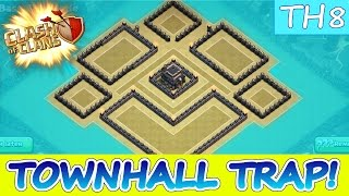 "getlinkyoutube.com-Clash Of Clans | UNIQUE TH8 WAR BASE | ""THE TOWN HALL TRAP!"" 
