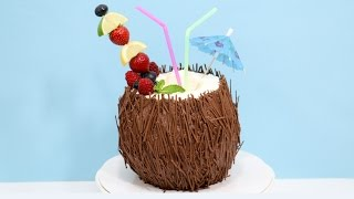 getlinkyoutube.com-Coconut Cocktail 3D Cake  - How To Decorate with Chocolate by CakesStepbyStep