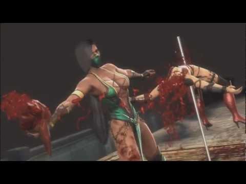 Mortal Kombat 9 Ryona Jade half mast fatality Jade Sindel Skarlet Mileena Sonya Blade Kitana