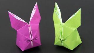 Basteln zu Ostern: aufblasbaren Origami Osterhasen falten - DIY