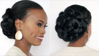 getlinkyoutube.com-Braided Bun w/Kanekalon Hair on Ethnic Hair