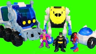 getlinkyoutube.com-Imaginext Space Rover Joker Riddler Bane Send Spider-Man to Space Batman Robin Save Day
