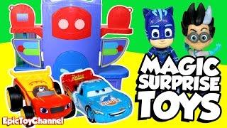 getlinkyoutube.com-PJ MASKS Surprise Toys Magic with Surprise Eggs, Blaze and Disney Cars Toys Surprises & Paw Patrol
