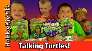 getlinkyoutube.com-TMNT Half Shell Heroes Talking Turtles! Toy Play Review Box Open by HobbyKidsTV