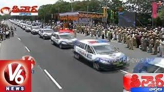 getlinkyoutube.com-KCR Launched Telangana Police Patrolling Vehicles || Teenmaar News || V6 news