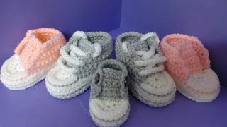 getlinkyoutube.com-How to crochet My easy new born baby converse style slippers p5 with a little more crochet history