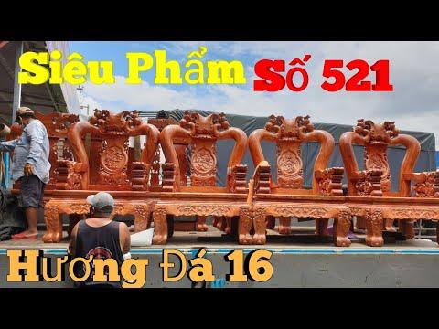 Siêu phẩm bộ ghế đào chim hương đá cột 16 mặt dày 5cm tuyệt đẹp|Đồ Gỗ Trâm Anh|số 521