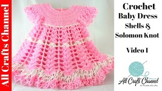 Crochet Baby Dress/ Shells and lacy dress - Part 1 /  Subtitulos en español - Yolanda Soto Lopez