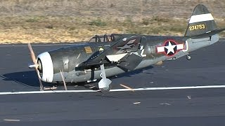 Lensyl calls a Mayday when his RC P-47 Thunderbolt landing gear fails