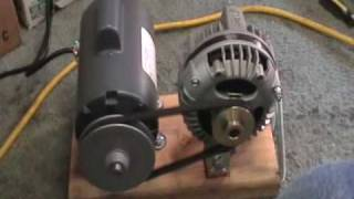getlinkyoutube.com-Maxflow 3 phase alternator mounted with 1/2 hp electric motor