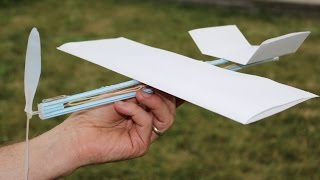 getlinkyoutube.com-How to Make a Rubber Band Plane Out of Paper - Very EASY