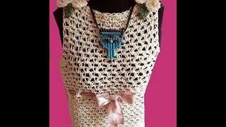 getlinkyoutube.com-Crochet CREAM SUMMER TANK TOP, how to diy, Moss Stitch, Boat Neck