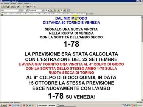Seconda Vincita Lotto Consecutiva da Metodo Distanza 30 Torino e Venezia dell' 11 Ottobre 2012