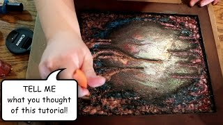 How I Painted ABSTRACTION - Step by Step TUTORIAL (Mixed media abstract art)