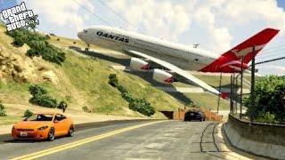 getlinkyoutube.com-GTA 5✦Massive Air Plane A380✦Emergency Landing on Strange Place at Mountain