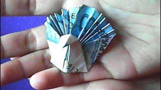 getlinkyoutube.com-origami uang-cara membuat bentuk merak-money origami-how to make a peacock shape