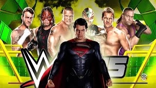getlinkyoutube.com-Superman Glitch - 6-Man Ladder Match [Money in the Bank] WWE 2K15
