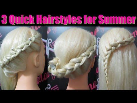 3 Γρήγορα καλοκαιρινά χτενίσματα / 3 Quick Summer Hairstyles + English Subtitles