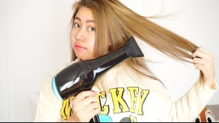 getlinkyoutube.com-Routine : Blow Drying Hair Tutorial ไดร์ผมตรงด้วยตัวเอง | Bucciime