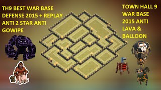 getlinkyoutube.com-clash of clans - town hall 9 (th9) best war base 2015 anti gowipe lava, balloon anti 2 star + replay