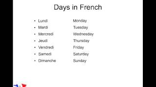 Days and months in French - YouTube