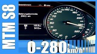 getlinkyoutube.com-760 HP Audi S8 / RS8 Acceleration 4.0 TFSI MTM INSANE! 0-280 km/h Beschleunigung Autobahn Test