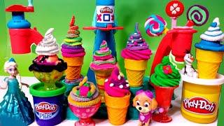getlinkyoutube.com-★ Huge ★ Play Doh Magic Swirl Ice Cream Shoppe Gift set by Hasbro Cake Popsicles Sundaes Disney Elsa