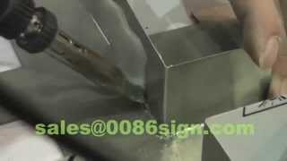 getlinkyoutube.com-stainless channel letter handmade-steel logo sign-channel sign making-tin solder weld stainless sign