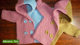 getlinkyoutube.com-ABRIGO o SAQUITO (CHAQUETA) para bebés de (0 meses a 2 años). Tejido con dos agujas # 356