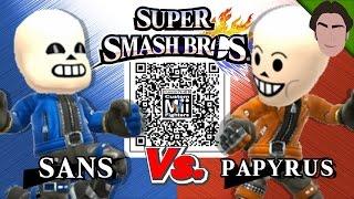 getlinkyoutube.com-Sans VS Papyrus - Custom Mii Fighter Versus QR Codes