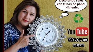 getlinkyoutube.com-Decorando un reloj  Mirna y sus manus.Decorating a clock with toilet paper tubes