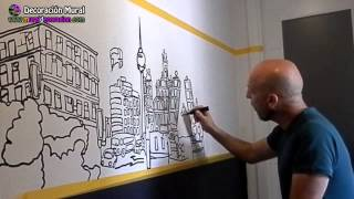 getlinkyoutube.com-Murales decorativos: Pintar Madrid en 5 minutos Decoración Mural