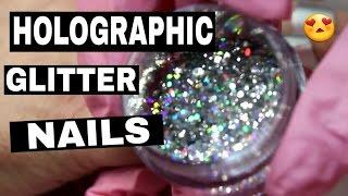 getlinkyoutube.com-HOW TO HOLOGRAPHIC GLITTER FADE ACRYLIC NAILS ♥