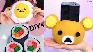 getlinkyoutube.com-3 DIY Room Decors:DIY Sushi Plush/Felt+DIY Rilakkuma Plush Phone Holder+DIY Gudetama Lazy Egg Plush