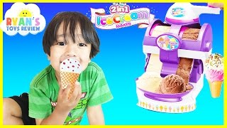 getlinkyoutube.com-ICE CREAM MAKER Cra-Z-Art The Real 2 in 1 Ice Cream Machine Toy for Kids Ryan ToysReview