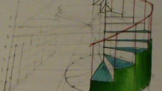 Escalera de caracol en perspectiva cónica (otro método)