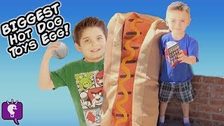 getlinkyoutube.com-Worlds BIGGEST HOT DOG! Real Puppies + Toy Surprises Race Picnic Craft Day, Piggy Bank HobbyKidsTV
