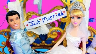 Cinderella Wedding Parody & Toy Review New Barbie Dolls with Frozen Fever Elsa Anna Prank